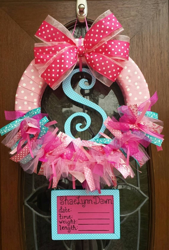 Aqua Pink And Fuchsia Ribbon Baby Girl Hospital Door Wreath