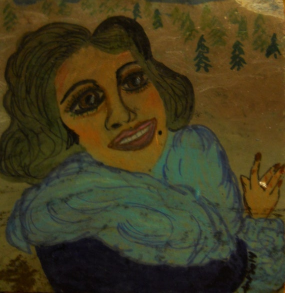 Hand Painted Portrait on Natural Slate, Tile Painting, HESTER, Ethnic Primitive Folk Art by Stacey Torres