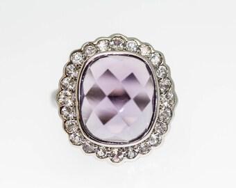 925 Rose De France / White Topaz Ring ( 6.57 cts) .