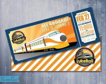 All Aboard, Train Invitation - Boys Birthday - Train Birthday Invitation - High Speed Train, Customizable, Boy Birthday Party Invitation