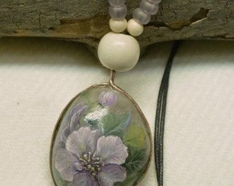 Two Sided Original Hand Painted Stone Necklace (Front - Purple Flowers, Back - White Flowers)