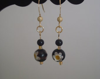 Black millefiori earrings - 14K gold filled - Black and gold earrings - Women's fashion Jewelry - Valentine