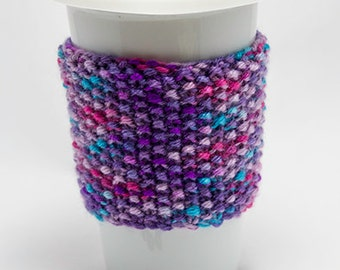 Hand Knitted Mug Cozy, Eco Friendly,  Travel Mug Cozy, Knitted Coffee Cup Sleeve, gift for her, gift for him, hand knitted cosy