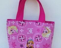 Girls Easter Basket - Pink Tote Bag - Disney Frozen Fabric Tote Bag -Anna and Elsa Girls Tote - Easter Gift under 20 - Book Bag - Girls Gift
