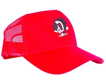 small border collie Sheepdog Embroidery on red Snapback trucker cap