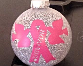 Survivor-Breast Cancer-Dove-Ribbon-Pink-Ornament-Glass