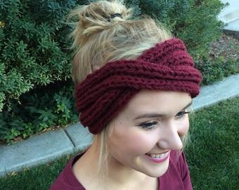 Handmade Knit Turban Headband (Red)