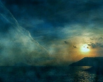 Alone with the Sea; Fine Art Photography - seascape,  sundown, night photography, photo art, Mediterranean, hologram, sea photography, ocean