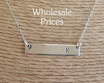 Stamped Sterling Silver Bar Necklace, Personalized Necklace, Statement, Initial Necklace, Holiday Gifts, Valentines Gift