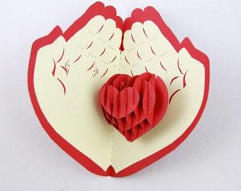 Heart on Palms Pop Up Card