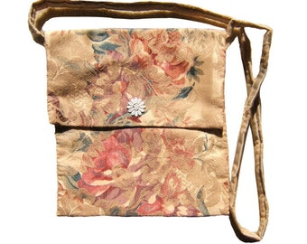 Brocade bag. Hand sewn and lined with the same material, 24 x 25 cms.