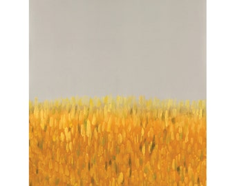 Yellow and gray art, modern landscape painting, gray abstract landscape painting 12 x 18 - available in different sizes