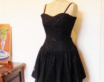 Black lace mini dress - a 1980s punk rebellion