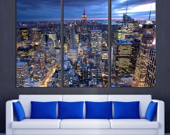New York City evening skyline Canvas Print. NYC aerial view. 3 Panel Split, Triptych. NY at dusk for living room wall decor, interior design