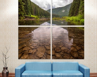 """Clear Lake in mountains. Landscape photo to Canvas Print. 4 Panel Split (Quad), 1.5"""" deep frames -  for office wall decor & interior design"""