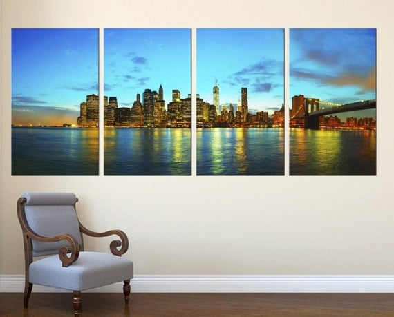 new york city skyline panorama 4 panel split canvas print nyc cityscape photography print