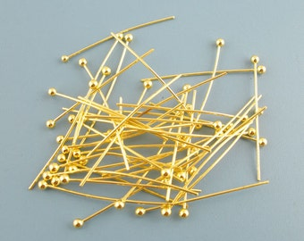 500Pcs Gold Plated Ball Head Pins 0.5x25mm