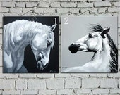 Horse oil painting combination,white horse oil painting on canvas,large oil painting,portrait painting,art,hand painted by Ape Art Studio