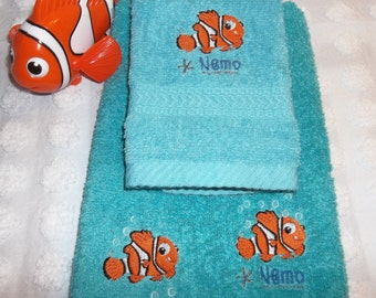 Nemo Towel Finding Nemo Embroidered Teal Turquoise Aqua 2 Piece Hand Towel  And Washcloth Set Children