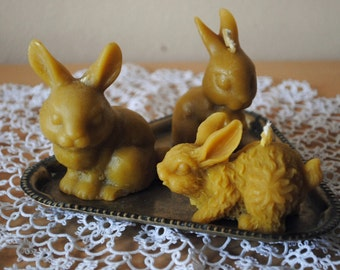 Beeswax 3 x Rabbit Candles - Easter Candle, Easter decoration, gift