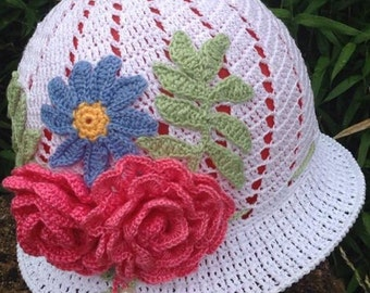 Crochet cloche summer hat, summer hat, Panama, flower hat, crochet Panama, beach hat, cotton hat, hat for a girl, women hat
