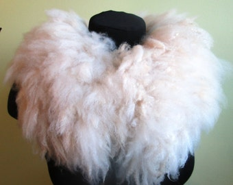 "Original felted eco fur collar ""Latte"", Handmade, OOAK"