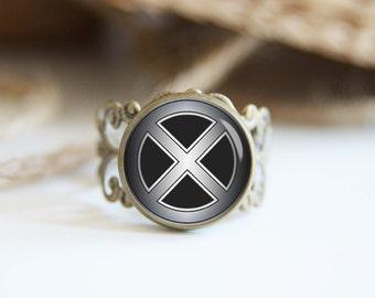 X men superhero 25mm adjustable ring, antique silver or antique bronze, cool jewelry