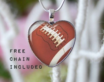 Heart shape football necklace. Sports gift pendant. Free matching chain is included.