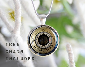 Old camera lens image necklace. Photographers gift pendant. Free matching chain is included.