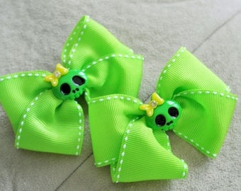 Pair of Green Skeleton Hair Bow Clips