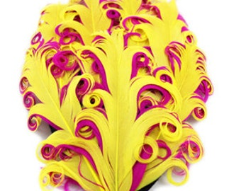 curly feather pad, feather pads, nagorie feather, curly feathers, yellow pink feather pad, hair accessories, supplies, nagorie feather pads