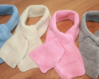SALE 10% OFF Hand Knitted Pure Merino Wool Baby, Toddler & Kids Scarf in Different Colors