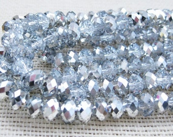 36 Metallic Clear Crystals Faceted Rondelles 8X5MM #2002