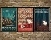 HARRY POTTER Set of 3 Travel Poster Vintage Harry Potter Print Geekery Wall Art House Warming Gift Children Room Decor