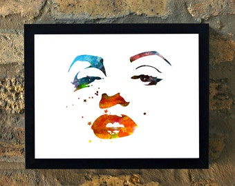 Marilyn Monroe Water Color Print Wall Art House Warming New Apartment