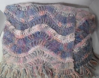 SALE - Sofa Throw / Lap Blanket / Bed Throw in Pastel Colors (Pinks and Blues)