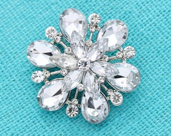 Rhinestone Brooch, Vintage Wedding Brooches, Silver Bridal Bridesmaid Bouquet Broooches, Sash Dress Brooch, Rhinestone Silver Broaches