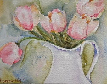 Tulip watercolor, tulip painting, flower painting .. mat included.