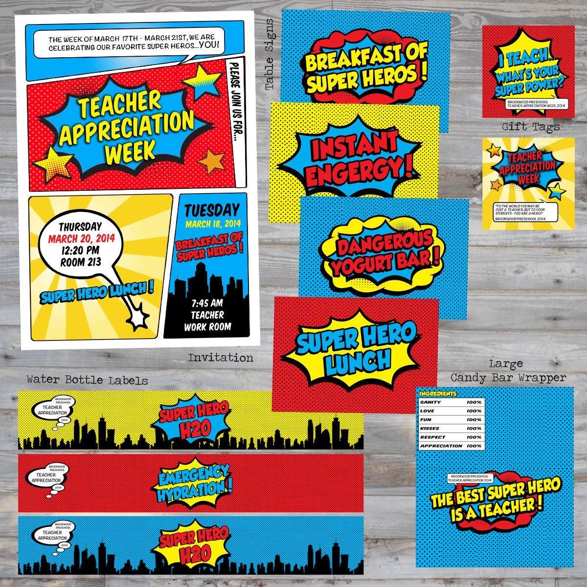 Superhero Teacher Appreciation Birthday Invitation by ...