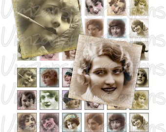Digital Collage Sheet 1 inch squares - Printable Digital Sheet - Vintage Faces beautiful ladies from the past