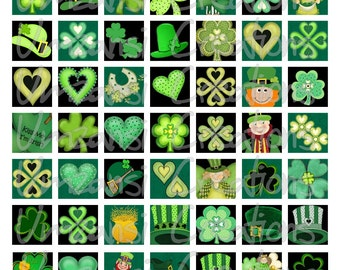 Digital Collage Sheet 1 inch squares - Printable Digital Sheet - St. Patricksday Irish