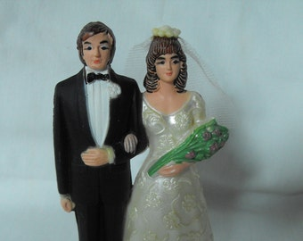 Vintage Weddingcake topper, bride and groom, 1970s