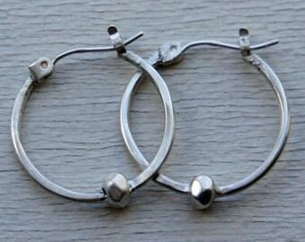 Medium Silver Hoop Earrings with Fine Silver Nugget