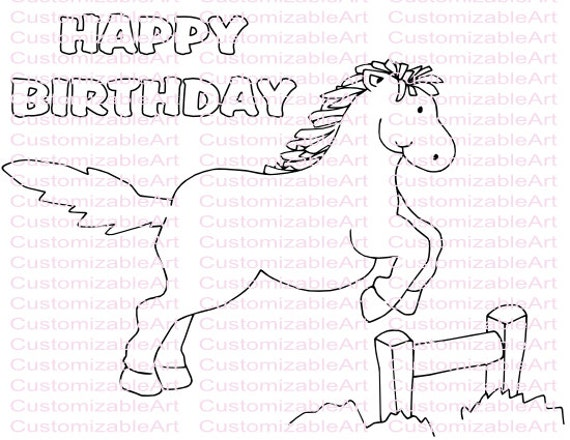 Horse Birthday Card Coloring Pictures to Pin on Pinterest  PinsDaddy