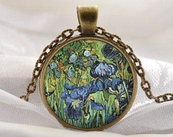 Van Gogh Iris Necklace - Blue Flower Pendant - Flower Art Gift for Women - Vintage Bronze Artist Jewelry