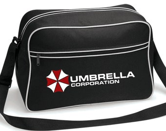 Umbrella Corporation Resident Evil Inspired Retro Messenger Shoulder Bag in Black