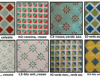 Decorated ceramic TILE by hand