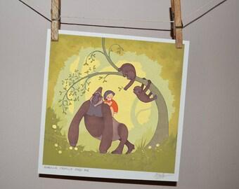 Gorilla Family and Me: Children's Print