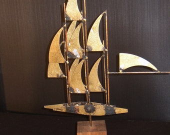 Williiam Bowie, Windjammer, Gold Leaf Steel with Silver Accents on a Walnut base