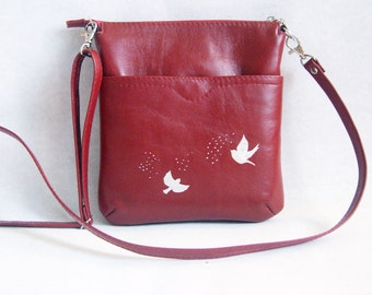 Leather Bag, Handmade, Red Bag, Small Bag, Shoulder Bag, Purse, Cross Body, Genuine Leather, Cranberry